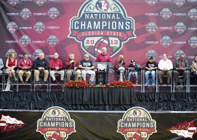Feb 1, 2014; Tallahassee, FL, USA; The voice of the Florida State Seminoles Gene Deckerhoff speaks during the BCS National Championship Celebration at Doak Campbell Stadium. Mandatory Credit: Melina Vastola-USA TODAY Sports