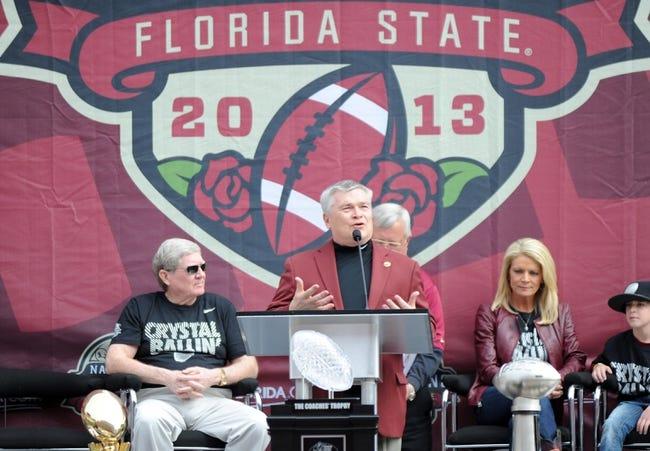 Feb 1, 2014; Tallahassee, FL, USA; Florida State Seminoles president Eric Barron speaks during the BCS National Championship Celebration at Doak Campbell Stadium. Mandatory Credit: Melina Vastola-USA TODAY Sports