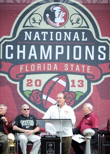 Feb 1, 2014; Tallahassee, FL, USA; Florida State Seminoles head coach Jimbo Fisher speaks during the BCS National Championship Celebration at Doak Campbell Stadium. Mandatory Credit: Melina Vastola-USA TODAY Sports