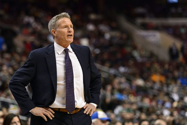 Feb 5, 2014; Philadelphia, PA, USA; Philadelphia 76ers head coach Brett Brown during the third quarter against the Boston Celtics at the Wells Fargo Center. The Celtics defeated the Sixers 114-108. Mandatory Credit: Howard Smith-USA TODAY Sports