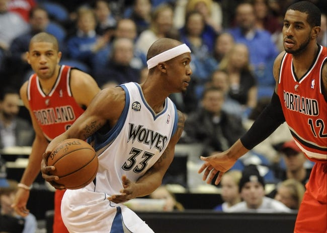 Feb 8, 2014; Minneapolis, MN, USA; Minnesota Timberwolves forward Dante Cunningham (33) moves to the basket first half against the Portland Trail Blazers at Target Center.  The Trail Blazers defeated the Wolves  117-110.  Mandatory Credit: Marilyn Indahl-USA TODAY Sports