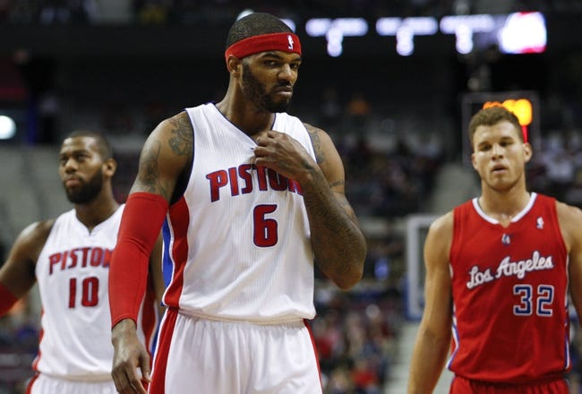 Jan 20, 2014; Auburn Hills, MI, USA; Detroit Pistons small forward Josh Smith (6) reacts during the first quarter against the Los Angeles Clippers at The Palace of Auburn Hills. Clippers beat the Pistons 112-103. Mandatory Credit: Raj Mehta-USA TODAY Sports