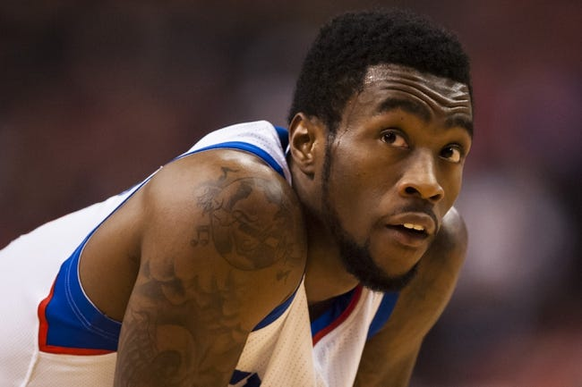 Feb 5, 2014; Philadelphia, PA, USA; Philadelphia 76ers guard Tony Wroten (8) during the second quarter against the Boston Celtics at the Wells Fargo Center. The Celtics defeated the Sixers 114-108. Mandatory Credit: Howard Smith-USA TODAY Sports