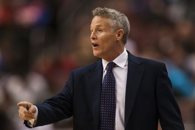 Feb 5, 2014; Philadelphia, PA, USA; Philadelphia 76ers head coach Brett Brown during the fourth quarter against the Boston Celtics at the Wells Fargo Center. The Celtics defeated the Sixers 114-108. Mandatory Credit: Howard Smith-USA TODAY Sports