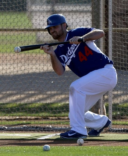 Feb 10, 2014; Glendale, AZ, USA; Los Angeles Dodgers relief pitcher Chris Withrow (44) bunts during camp at Camelback Ranch. Mandatory Credit: Rick Scuteri-USA TODAY Sports