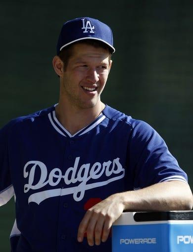 Feb 10, 2014; Glendale, AZ, USA; Los Angeles Dodgers starting pitcher Clayton Kershaw (22) during camp at Camelback Ranch. Mandatory Credit: Rick Scuteri-USA TODAY Sports