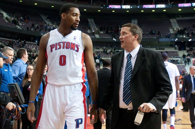 Feb 10, 2014; Auburn Hills, MI, USA; Detroit Pistons center Andre Drummond (0) and interim head coach John Loyer after the game against the San Antonio Spurs at The Palace of Auburn Hills. Pistons won 109-100. Mandatory Credit: Tim Fuller-USA TODAY Sports
