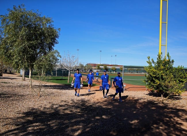 Feb 12, 2014; Glendale, AZ, USA; Los Angeles Dodgers pitchers walk to a practice field during team workouts at Camelback Ranch. Mandatory Credit: Mark J. Rebilas-USA TODAY Sports
