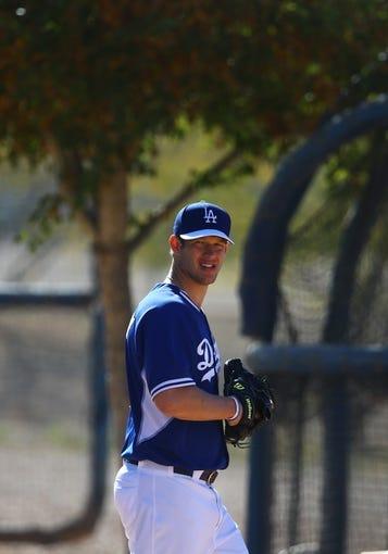 Feb 12, 2014; Glendale, AZ, USA; Los Angeles Dodgers pitcher Clayton Kershaw during team workouts at Camelback Ranch. Mandatory Credit: Mark J. Rebilas-USA TODAY Sports