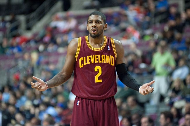 Feb 12, 2014; Auburn Hills, MI, USA; Cleveland Cavaliers point guard Kyrie Irving (2) reacts during the second quarter against the Detroit Pistons at The Palace of Auburn Hills. Mandatory Credit: Tim Fuller-USA TODAY Sports