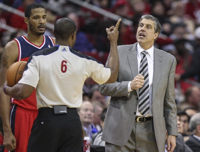 Feb 12, 2014; Houston, TX, USA; Washington Wizards head coach Randy Wittman talks with an official during the second quarter against the Houston Rockets at Toyota Center. Mandatory Credit: Troy Taormina-USA TODAY Sports