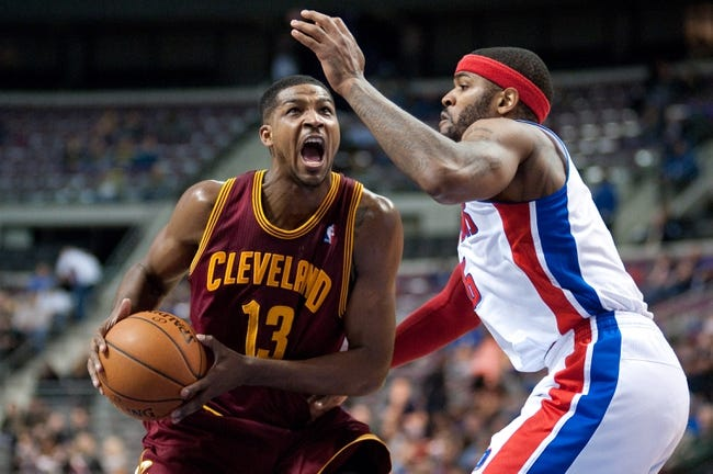 Feb 12, 2014; Auburn Hills, MI, USA; Detroit Pistons small forward Josh Smith (6) guards Cleveland Cavaliers power forward Tristan Thompson (13) during the third quarter at The Palace of Auburn Hills. Cleveland won 93-89. Mandatory Credit: Tim Fuller-USA TODAY Sports