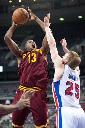 Feb 12, 2014; Auburn Hills, MI, USA; Cleveland Cavaliers power forward Tristan Thompson (13) during the fourth quarter against the Detroit Pistons at The Palace of Auburn Hills. Cleveland won 93-89. Mandatory Credit: Tim Fuller-USA TODAY Sports
