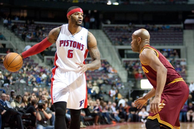 Feb 12, 2014; Auburn Hills, MI, USA; Cleveland Cavaliers point guard Jarrett Jack (1) guards Detroit Pistons small forward Josh Smith (6) during the first quarter at The Palace of Auburn Hills. Mandatory Credit: Tim Fuller-USA TODAY Sports