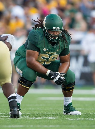 Aug 31, 2013; Waco, TX, USA; Baylor Bears guard Cyril Richardson (68) during the game against the Wofford Terriers at Floyd Casey Stadium. The Bears defeated the Terriers 69-3. Mandatory Credit: Jerome Miron-USA TODAY Sports