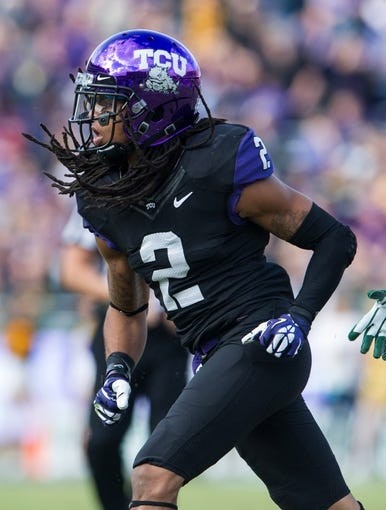 Nov 30, 2013; Fort Worth, TX, USA; TCU Horned Frogs cornerback Jason Verrett (2) during the game against the Baylor Bears at Amon G. Carter Stadium. The Bears defeated the Horned Frogs 41-38. Mandatory Credit: Jerome Miron-USA TODAY Sports