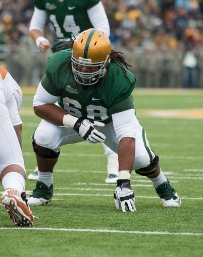 Dec 7, 2013; Waco, TX, USA; Baylor Bears guard Cyril Richardson (68) during the game against the Texas Longhorns at Floyd Casey Stadium. Mandatory Credit: Jerome Miron-USA TODAY Sports
