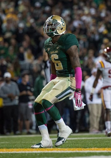 Oct 19, 2013; Waco, TX, USA; Baylor Bears safety Ahmad Dixon (6) during the game against the Iowa State Cyclones at Floyd Casey Stadium. The Bears defeated the Cyclones 71-7. Mandatory Credit: Jerome Miron-USA TODAY Sports