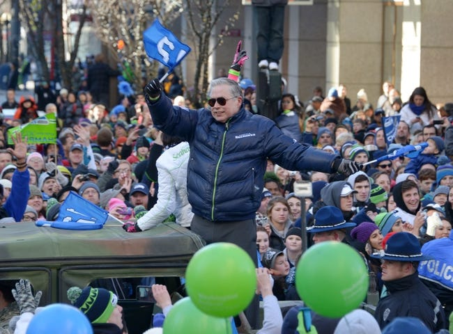 Feb 5, 2014; Seattle, WA, USA; Vulcan Inc. senior executive Bert Kolde at Seattle Seahawks Super Bowl XLVIII victory parade on 4th Avenue. Mandatory Credit: Kirby Lee-USA TODAY Sports
