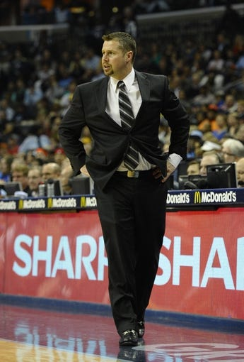 Feb 18, 2014; Memphis, TN, USA; Memphis Grizzlies head coach David Joerger during the second quarter against the New York Knicks at FedExForum. Mandatory Credit: Justin Ford-USA TODAY Sports