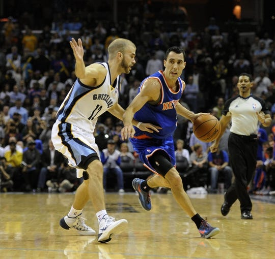 Feb 18, 2014; Memphis, TN, USA; New York Knicks point guard Pablo Prigioni (9) handles the ball against Memphis Grizzlies shooting guard Nick Calathes (12) during the game at FedExForum. Memphis Grizzlies beat New York Knicks 98 - 93. Mandatory Credit: Justin Ford-USA TODAY Sports
