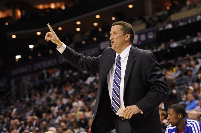Feb 19, 2014; Charlotte, NC, USA; Detroit Pistons head coach John Loyer during the first half of the game against the Charlotte Bobcats at Time Warner Cable Arena. Mandatory Credit: Sam Sharpe-USA TODAY Sports