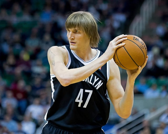 Feb 19, 2014; Salt Lake City, UT, USA; Brooklyn Nets small forward Andrei Kirilenko (47) looks to pass during the first half against the Utah Jazz at EnergySolutions Arena. Mandatory Credit: Russ Isabella-USA TODAY Sports