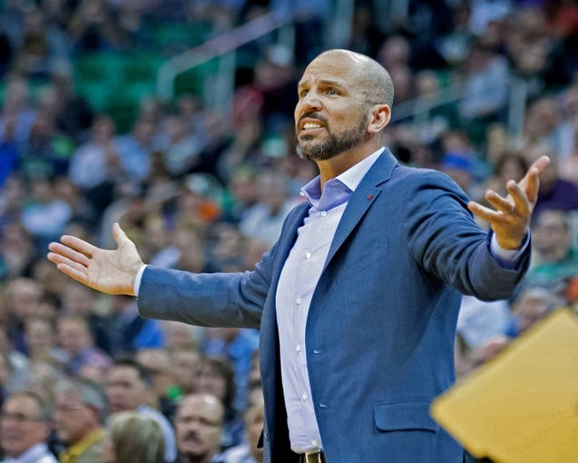 Feb 19, 2014; Salt Lake City, UT, USA; Brooklyn Nets head coach Jason Kidd reacts during the second half against the Utah Jazz at EnergySolutions Arena. The Nets won 105-99. Mandatory Credit: Russ Isabella-USA TODAY Sports