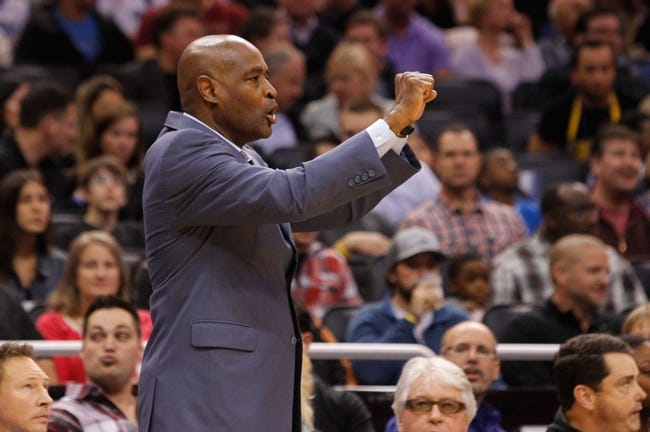 Jan 31, 2014; Orlando, FL, USA; Milwaukee Bucks head coach Larry Drew against the Orlando Magic during the second quarter at Amway Center. Mandatory Credit: Kim Klement-USA TODAY Sports