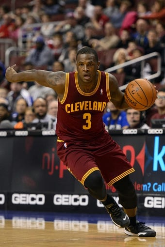 Feb 18, 2014; Philadelphia, PA, USA; Cleveland Cavaliers guard Dion Waiters (3) during the second quarter against the Philadelphia 76ers at the Wells Fargo Center. The Cavaliers defeated the Sixers 114-85. Mandatory Credit: Howard Smith-USA TODAY Sports