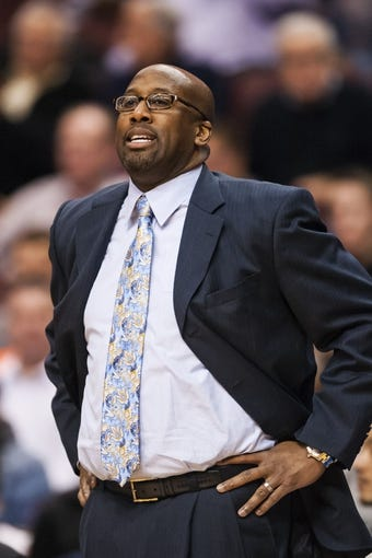 Feb 18, 2014; Philadelphia, PA, USA; Cleveland Cavaliers head coach Mike Brown during the first quarter against the Philadelphia 76ers at the Wells Fargo Center. The Cavaliers defeated the Sixers 114-85. Mandatory Credit: Howard Smith-USA TODAY Sports