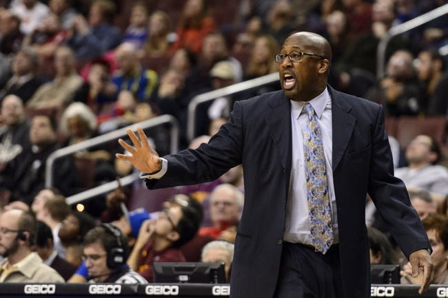 Feb 18, 2014; Philadelphia, PA, USA; Cleveland Cavaliers head coach Mike Brown during the second quarter against the Philadelphia 76ers at the Wells Fargo Center. The Cavaliers defeated the Sixers 114-85. Mandatory Credit: Howard Smith-USA TODAY Sports