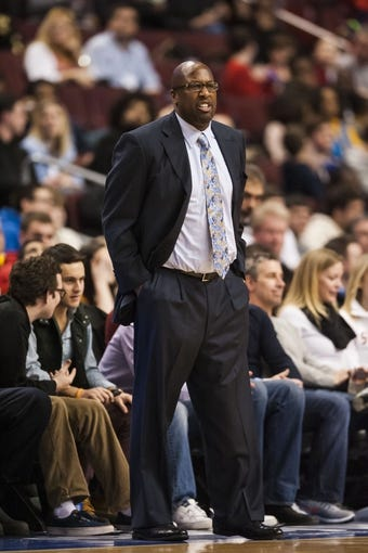 Feb 18, 2014; Philadelphia, PA, USA; Cleveland Cavaliers head coach Mike Brown during the third quarter against the Philadelphia 76ers at the Wells Fargo Center. The Cavaliers defeated the Sixers 114-85. Mandatory Credit: Howard Smith-USA TODAY Sports