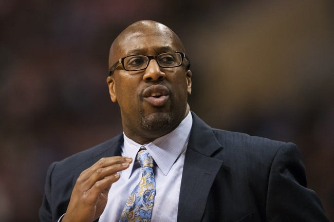 Feb 18, 2014; Philadelphia, PA, USA; Cleveland Cavaliers head coach Mike Brown during the fourth quarter against the Philadelphia 76ers at the Wells Fargo Center. The Cavaliers defeated the Sixers 114-85. Mandatory Credit: Howard Smith-USA TODAY Sports