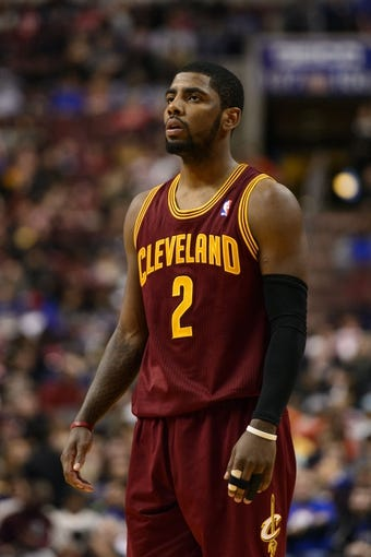 Feb 18, 2014; Philadelphia, PA, USA; Cleveland Cavaliers guard Kyrie Irving (2) during the fourth quarter against the Philadelphia 76ers at the Wells Fargo Center. The Cavaliers defeated the Sixers 114-85. Mandatory Credit: Howard Smith-USA TODAY Sports