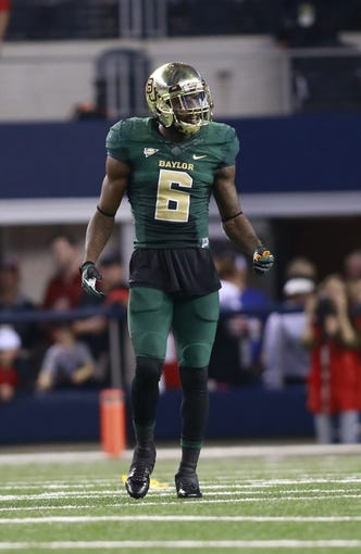 Nov 16, 2013; Arlington, TX, USA; Baylor safety Ahmad Dixon (6) in game action during the game against the Texas Tech Red Raiders at AT&T Stadium. Mandatory Credit: Tim Heitman-USA TODAY Sports