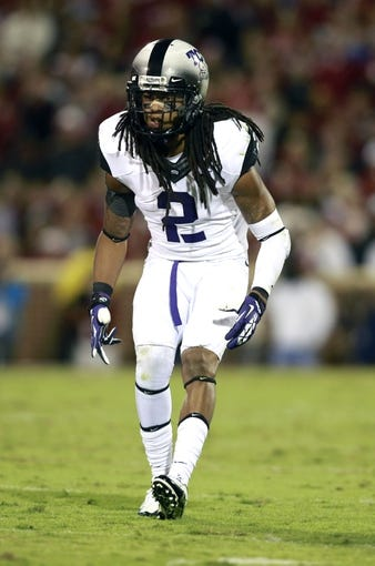 Oct 5, 2013; Norman, OK, USA; TCU Horned Frogs cornerback Jason Verrett (2) in game action against the Oklahoma Sooners at Gaylord Family - Oklahoma Memorial Stadium. Mandatory Credit: Tim Heitman-USA TODAY Sports