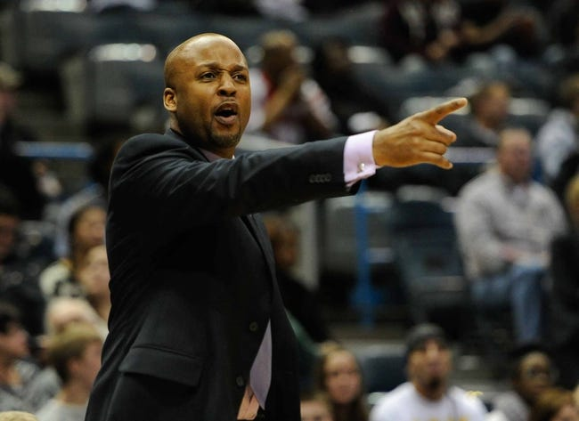 Feb 20, 2014; Milwaukee, WI, USA;  Denver Nuggets head coach Brian Shaw reacts during the game against the Milwaukee Bucks in the 2nd quarter at BMO Harris Bradley Center. Mandatory Credit: Benny Sieu-USA TODAY Sports