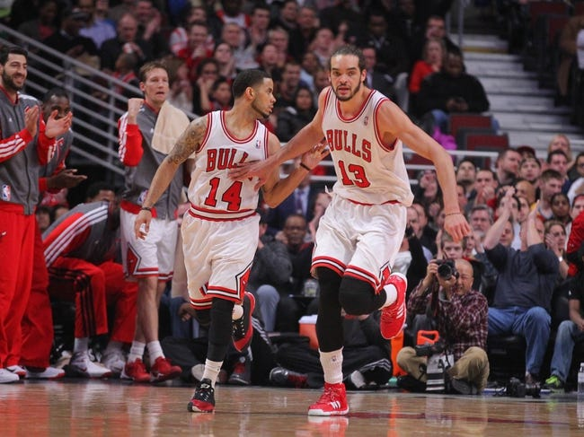 Feb 21, 2014; Chicago, IL, USA; Chicago Bulls point guard D.J. Augustin (14) and center Joakim Noah (13) congratulate each other during the second quarter against the Denver Nuggets at the United Center. Mandatory Credit: Dennis Wierzbicki-USA TODAY Sports