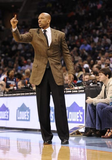 Feb 21, 2014; Charlotte, NC, USA; New Orleans Pelicans head coach Monty Williams during the second half of the game against the Charlotte Bobcats at Time Warner Cable Arena. Bobcats win 90-87. Mandatory Credit: Sam Sharpe-USA TODAY Sports