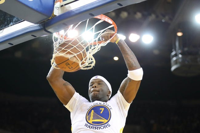Feb 22, 2014; Oakland, CA, USA; Golden State Warriors center Jermaine O'Neal (7) dunks the ball against the Brooklyn Nets during the fourth quarter at Oracle Arena. The Golden State Warriors defeated the Brooklyn Nets 93-86. Mandatory Credit: Kelley L Cox-USA TODAY Sports