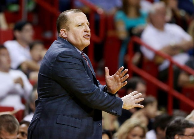 Feb 23, 2014; Miami, FL, USA;  Chicago Bulls head coach Tom Thibodeau reacts in the second half of a game against the Miami Heat at American Airlines Arena. The Heat won 93-79.  Mandatory Credit: Robert Mayer-USA TODAY Sports