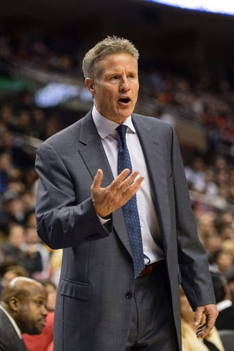 Feb 21, 2014; Philadelphia, PA, USA; Philadelphia 76ers head coach Brett Brown during the third quarter against the Dallas Mavericks at the Wells Fargo Center. The Mavericks defeated the Sixers 124-112. Mandatory Credit: Howard Smith-USA TODAY Sports