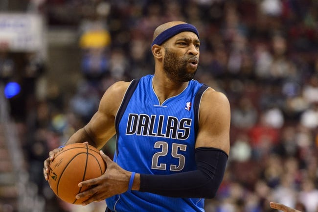 Feb 21, 2014; Philadelphia, PA, USA; Dallas Mavericks guard Vince Carter (25) during the fourth quarter against the Philadelphia 76ers at the Wells Fargo Center. The Mavericks defeated the Sixers 124-112. Mandatory Credit: Howard Smith-USA TODAY Sports