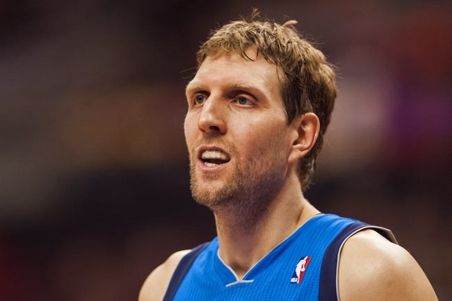 Feb 21, 2014; Philadelphia, PA, USA; Dallas Mavericks forward Dirk Nowitzki (41) during the third quarter against the Philadelphia 76ers at the Wells Fargo Center. The Mavericks defeated the Sixers 124-112. Mandatory Credit: Howard Smith-USA TODAY Sports