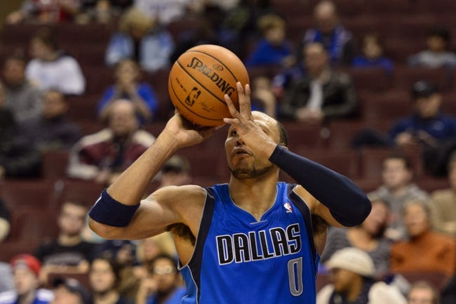 Feb 21, 2014; Philadelphia, PA, USA; Dallas Mavericks forward Shawn Marion (0) shoots during the fourth quarter against the Philadelphia 76ers at the Wells Fargo Center. The Mavericks defeated the Sixers 124-112. Mandatory Credit: Howard Smith-USA TODAY Sports