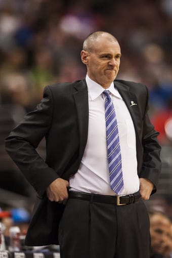 Feb 21, 2014; Philadelphia, PA, USA; Dallas Mavericks head coach  Rick Carlisle during the third quarter against the Philadelphia 76ers at the Wells Fargo Center. The Mavericks defeated the Sixers 124-112. Mandatory Credit: Howard Smith-USA TODAY Sports