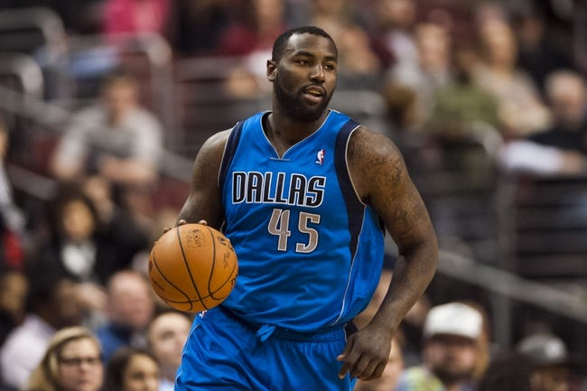 Feb 21, 2014; Philadelphia, PA, USA; Dallas Mavericks center DeJuan Blair (45) during the fourth quarter against the Philadelphia 76ers at the Wells Fargo Center. The Mavericks defeated the Sixers 124-112. Mandatory Credit: Howard Smith-USA TODAY Sports