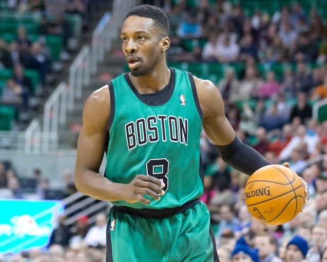 Feb 24, 2014; Salt Lake City, UT, USA; Boston Celtics small forward Jeff Green (8) dribbles the ball during the first half against the Utah Jazz at EnergySolutions Arena. Mandatory Credit: Russ Isabella-USA TODAY Sports