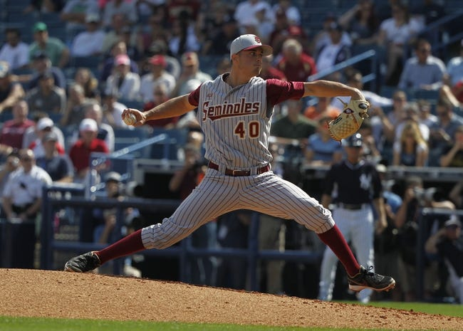 Feb 25, 2014; Tampa, FL, USA;  Florida State Seminoles pitcher Peter Miller (40) throws a pitch during the second inning against the New York Yankees at George M. Steinbrenner Field. Mandatory Credit: Kim Klement-USA TODAY Sports